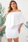 Tallas grandes con aderezo múltiple, poncho, mini vestido blanco