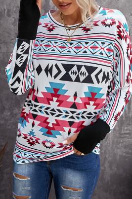 Haut à manches longues et patch imprimé aztèque avec trou pour le pouce