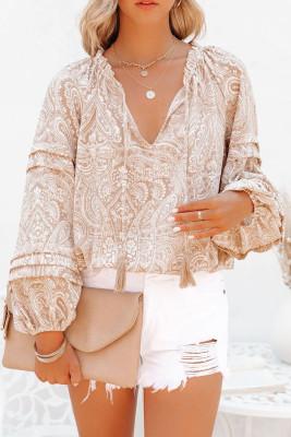 Блузка с пышными рукавами и кисточками с принтом абрикоса и кулиской