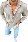 قميص رجالي بلون فضي وطية صدر السترة