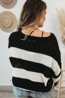 Suéter de punto negro con cuello en V y bloques de color
