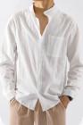 قميص رجالي بياقة واقفة من مزيج القطن الأبيض