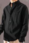 قميص رجالي بياقة واقفة من مزيج القطن الخالص باللون الأسود