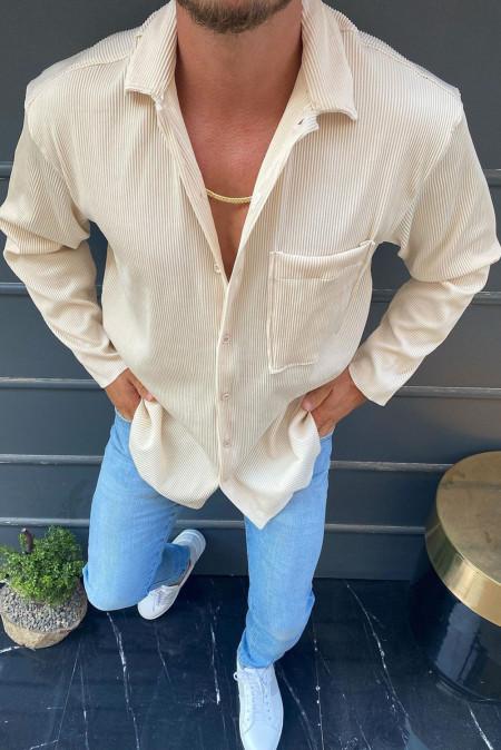 Chemise homme en velours côtelé à revers de couleur unie abricot