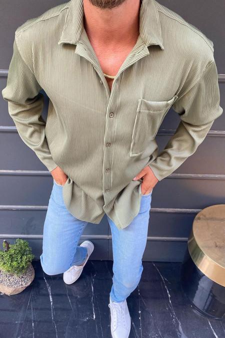قميص رجالي بلون أخضر داكن