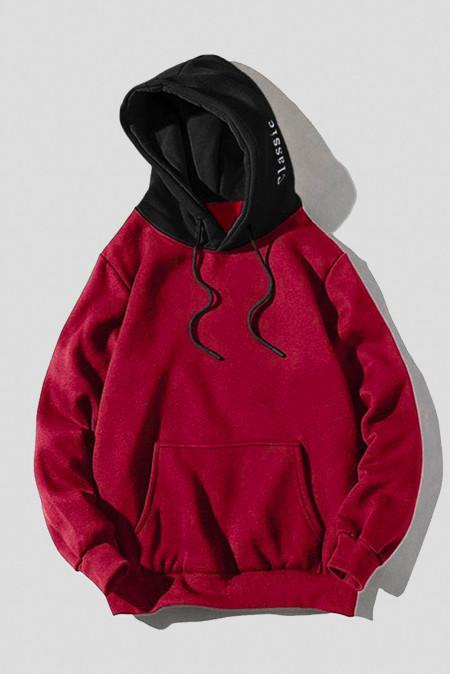 Бордовая мужская толстовка-пуловер с контрастным капюшоном