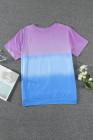 Camiseta morada con cuello redondo y teñido anudado en bloques de color de talla grande