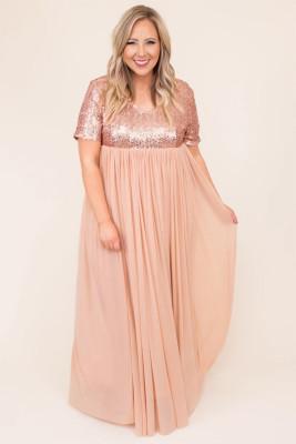 فستان ماكسي شبكي مطرز بالترتر بأكمام قصيرة مقاس كبير وردي