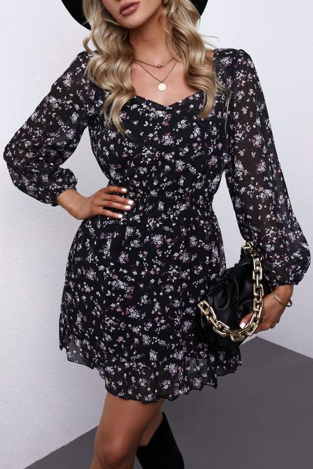 فستان زهري مكشكش بخصر مطاطي أسود