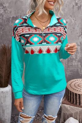 Sudadera con estampado azteca y cuello con cremallera en bloques de color