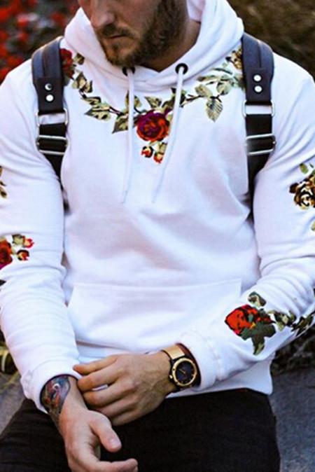 Sudadera con capucha de hombre blanca con bordado floral