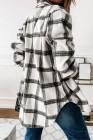 Черное пальто-рубашка на пуговицах в клетку с разрезами