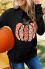 Sudadera con capucha y cremallera Gráfico de calabaza de Halloween negra