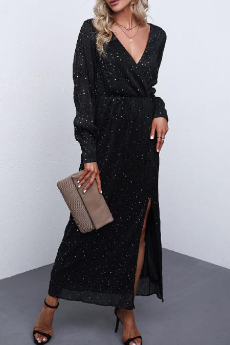 Vestido largo con cuello en V y diamantes de imitación con abertura lateral en negro