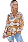 Sudadera con capucha holgada de manga larga con botones y estampado azteca