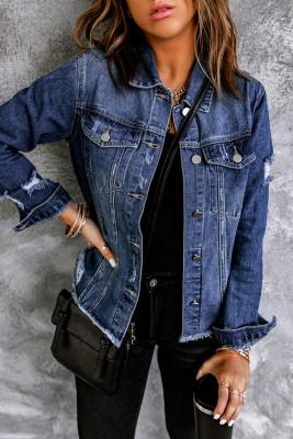 Veste en jean bleu à revers effet vieilli avec ourlet brut et boutons