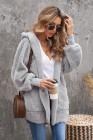 Capa delantera abierta con capucha de felpa suave gris