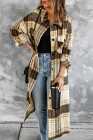 Abrigo marrón con motivo de cuadrícula con bolsillos