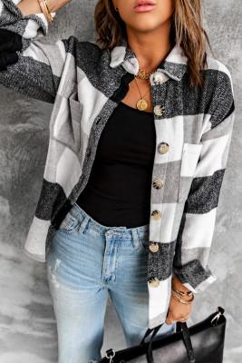 Veste à manches longues boutonnée à carreaux gris à blocs de couleurs avec poche