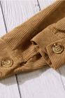 Chaqueta de manga larga de pana de canalé caqui con bolsillo