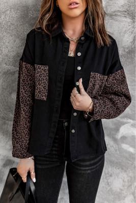 Veste en jean léopard contrastée noire