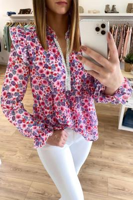 Блуза с баской с цветочным узором и оборками