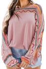 Розовая блуза с рукавами реглан с геометрическим принтом