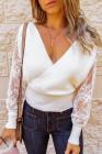 Suéter blanco sexy con cuello en V y sobrepelliz ahuecado con mangas de encaje