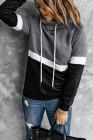 Черный худи с капюшоном и цветными блоками на кулиске