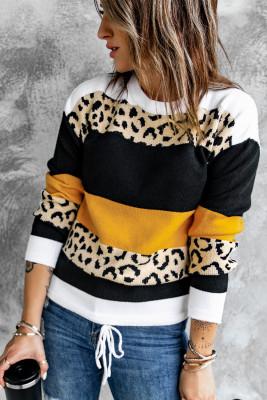 Suéter tipo jersey con cuello redondo y estampado de leopardo en bloques de color