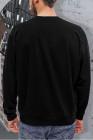 Sudadera con cuello redondo y estampado de letras negras para hombre