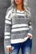 Белый вязаный пуловер в полоску