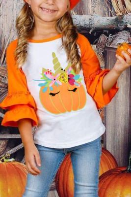 Chemise fille à manches 3/4 et imprimé citrouille à volants colorblock