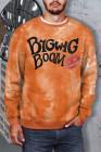 Оранжевый мужской свитшот с принтом букв и принтом с круглым вырезом и рисунком