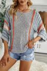 Серый полосатый пляжный свитер с широкими рукавами