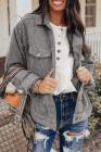 Серая вельветовая куртка с длинным рукавом в рубчик с карманом