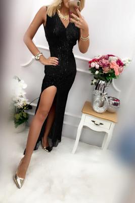 Черное длинное платье с пайетками без рукавов с глубоким V-образным вырезом и узором
