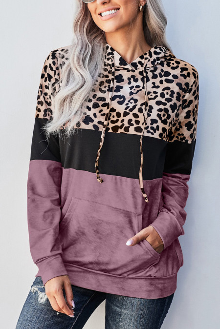 Худи с цветными блоками Rose Leopard Tie Dye