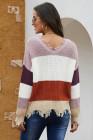 Рваный свитер с цветными блоками