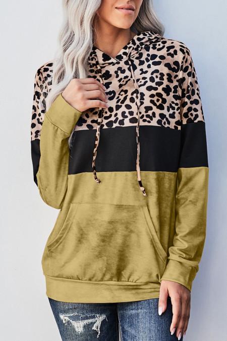 Худи с цветными блоками Yellow Leopard Tie Dye