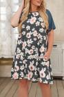 Vestido midi estilo camiseta de talla grande con contraste floral