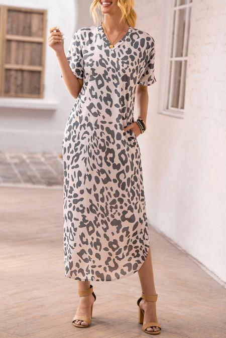 Повседневное платье макси с леопардовым принтом