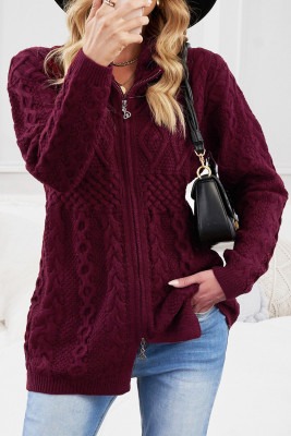 Suéter de punto rojo vino con cremallera y frente abierto