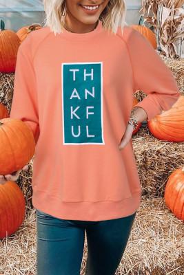 Orange Halloween Raglan THANKFUL Grafik Sweatshirt
