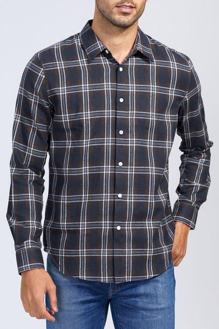 Синяя мужская рубашка на пуговицах с принтом в клетку