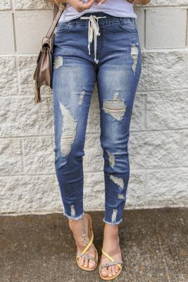 Синие рваные джинсы с эластичным поясом и кулиской