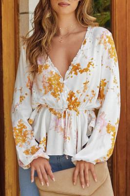 Блузка с круглыми рукавами и оборками с цветочным принтом и оборками на талии