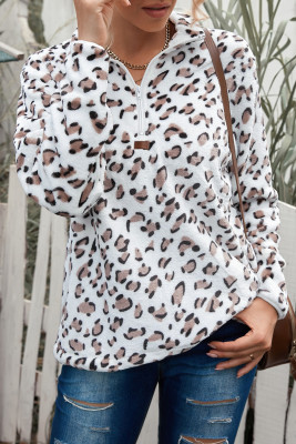 Sudadera blanca de felpa con cremallera de un cuarto de leopardo de mamá a juego con la familia blanca