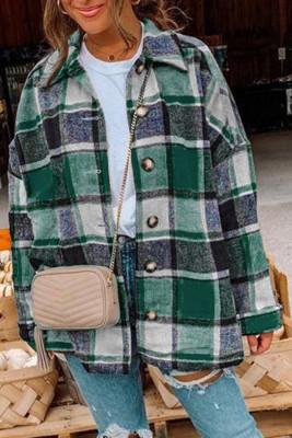 Chaqueta estilo camisa con botones y estampado de tartán verde