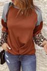 Оранжевая блузка с длинным рукавом и леопардовым принтом